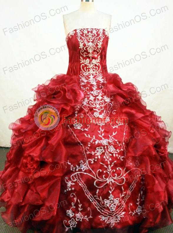 Gorgeous Ball Gown Floor-length Red Organza Embroidery Quinceanera ...