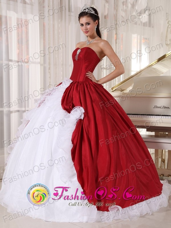 2013 Wine Red and White Ball Gown Quinceanera Dress with Hand Made ...