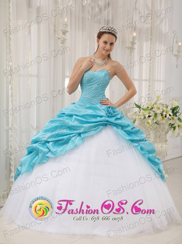 Fall Perfect Blue and White Taffeta and Tulle For Affordable ...