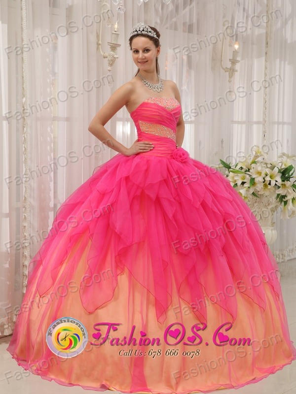 Hot Pink and Gold Riffles Sweet 16 Quinceanera Dress With Ruch ...