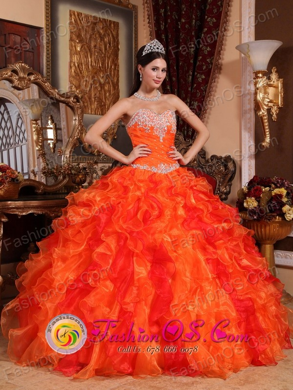 Orange Quinceanera Dress Sweetheart Beaded Embroidery Decorate ...