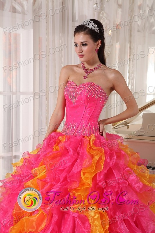 2013 La Gomera Guatemala Organza Orange Red and Hot Pink ...