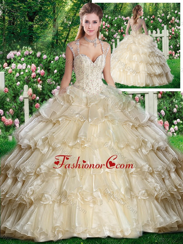 Beautiful Straps Champange Sweet 16 Dresses with Beading and Ruffled Layers SJQDDT262002FOR