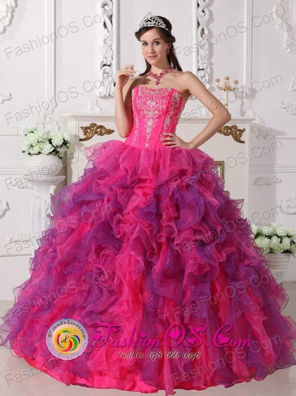 Calbuco Chile Organza Multi-color 2013 Quinceanera Dress ...