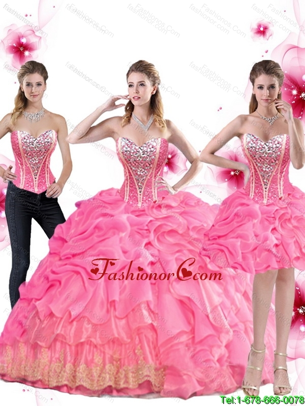 New Arrival Rose Pink Quinceanera Dress with Beading and Pick Ups for 2015 Summer SJQDDT48001FOR