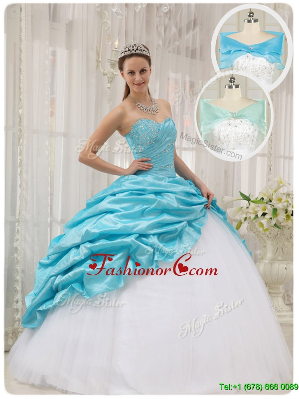 Luxurious Ball Gown Sweetheart Quinceanera Dresses in Aqua Blue QDZY369BFOR