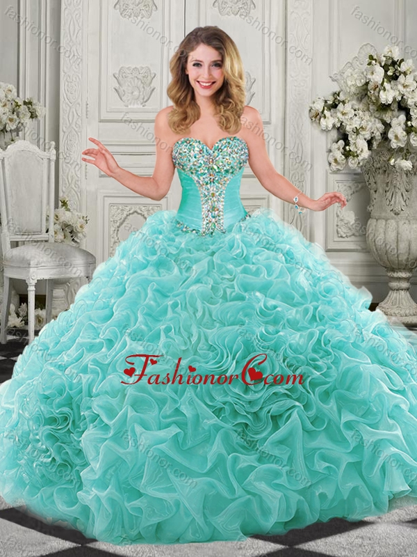 Modern Beaded and Ruffled Chapel Train Quinceanera Dress in Organza SJQDDT510002-1FOR