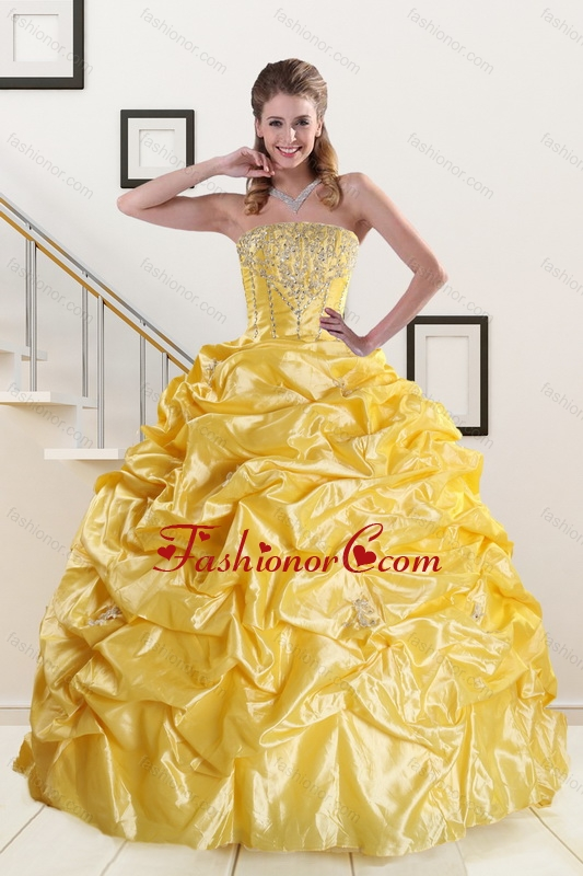 Yellow Beading Strapless 2015 Quinceanera Dresses with Sweep Train ...