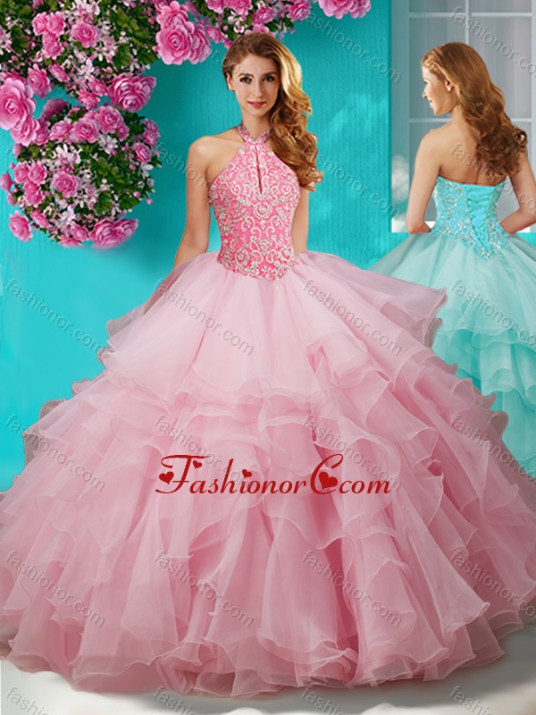 Affordable Beaded and Ruffled Layers Quinceanera Gown with Halter Top SJQDDT631002FOR
