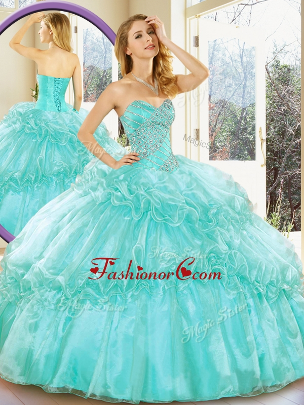 Affordable Sweetheart Quinceanera Gowns with Beading and Ruffled Layers for Summer QDDTC52002AFOR