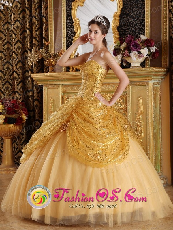 Huamachuco Peru 2013 Hand Made Flowers New Gold Quinceanera Dress ...