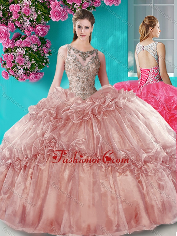 Really Puffy Beaded Bodice Scoop Organza Quinceanera Gown in Brown SJQDDT672002-1FOR