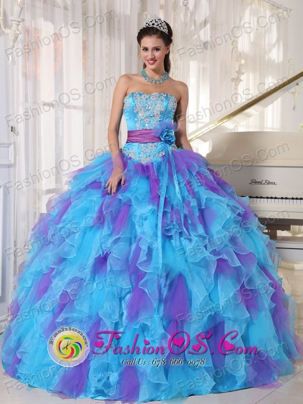Baby Blue sweetheart 2013 Quinceanera Dress Purple Appliques ...