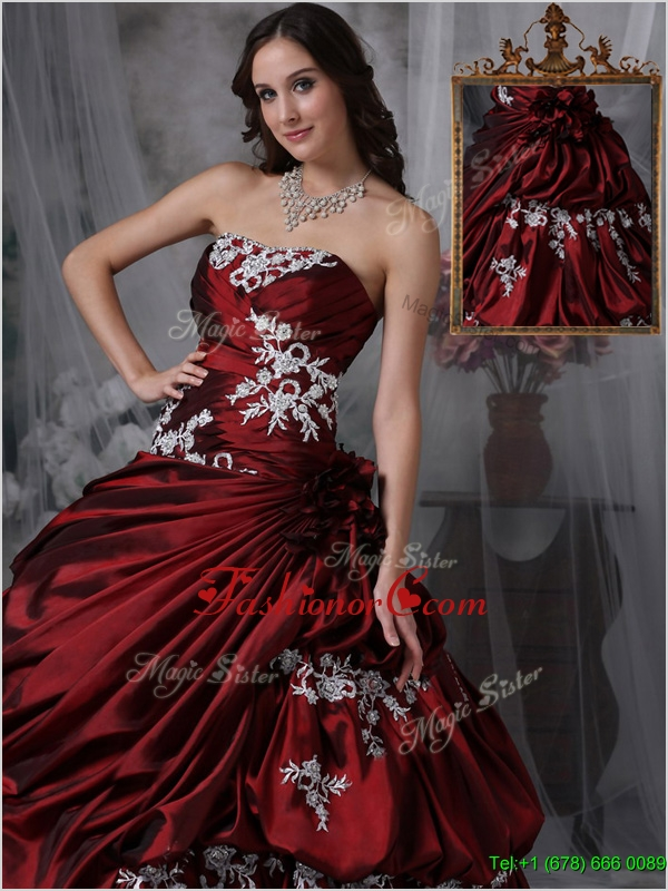 Cheap Ball Gown Strapless Quinceanera Gowns with Appliques  JMCHSD083101BFOR