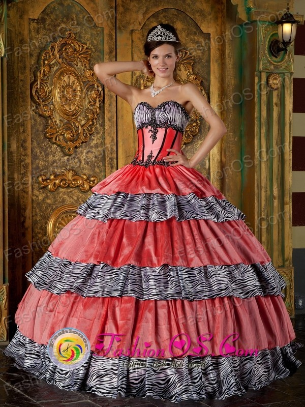 Colorful Sweetheart With Zebra and Taffeta Ruffles Ball Gown For ...