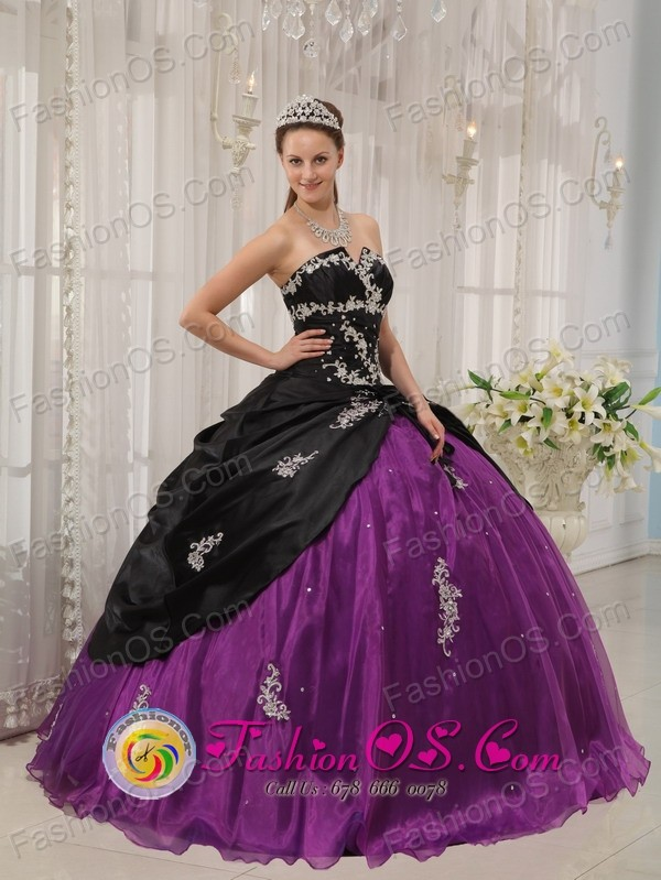Modest Appliques Decorate Black and Purple Quinceanera Dress for ...