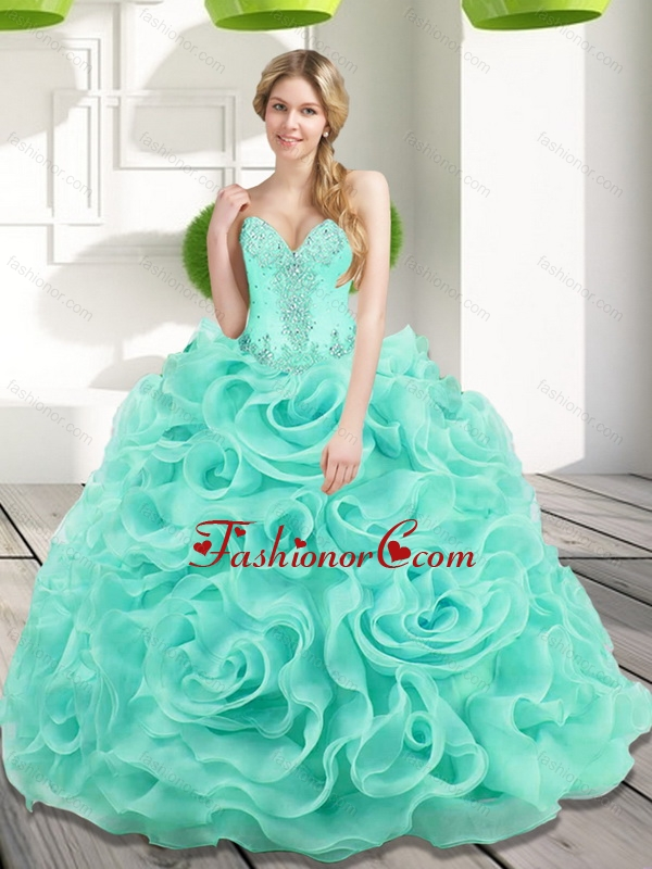 The Most Popular Beading and Rolling Flowers 2015 Quinceanera Dresses in Aqua Blue SJQDDT17002-4FOR