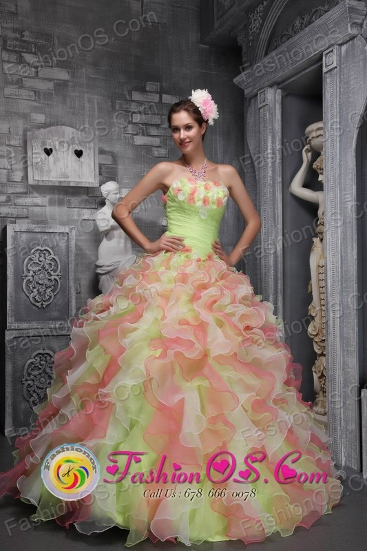 Waving tucks strapless Flower Decorate Multi-color For Sweet 16 Dress In 2013 Quinceanera   IN Salinas Uruguay Style ZYLJ07FOR