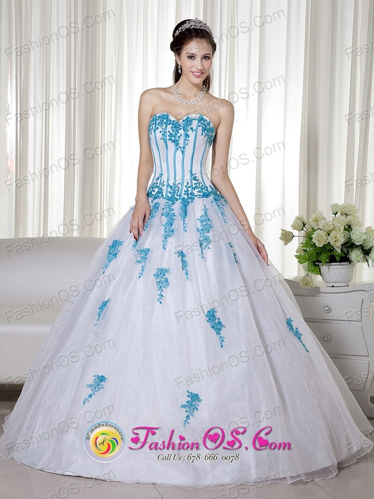 White And Blue Sweetheart Floor-length Taffeta and Organza ...