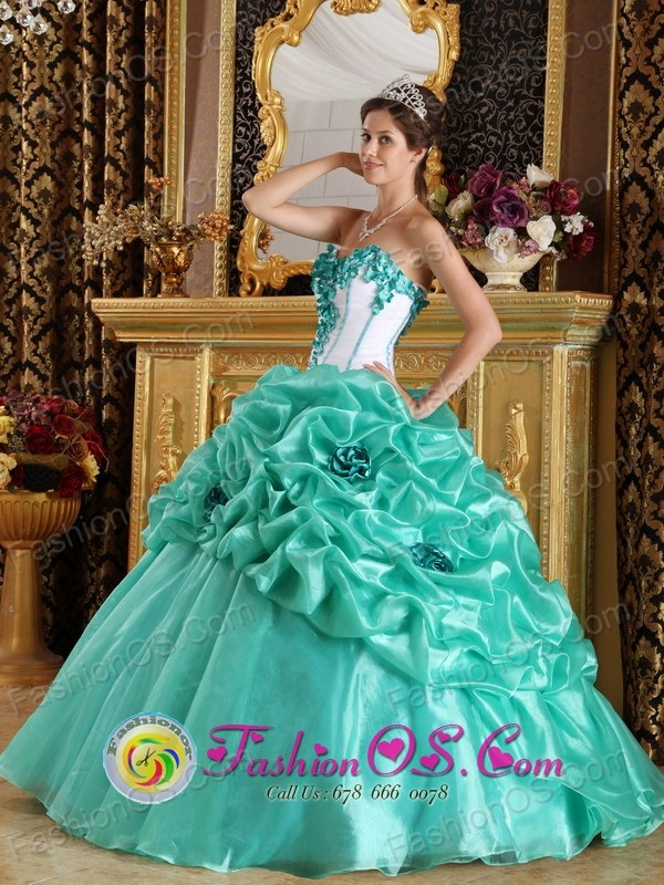 With Hand Made Flower Sweetheart Discount Turquoise Quinceanera ...