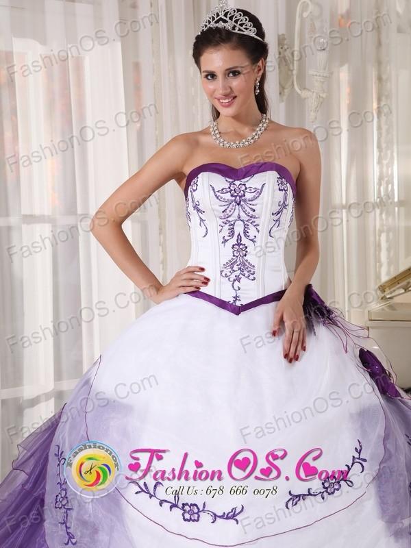 2013 Tijuana Mexico White and Purple Wholesale Quinceanera Dress ...