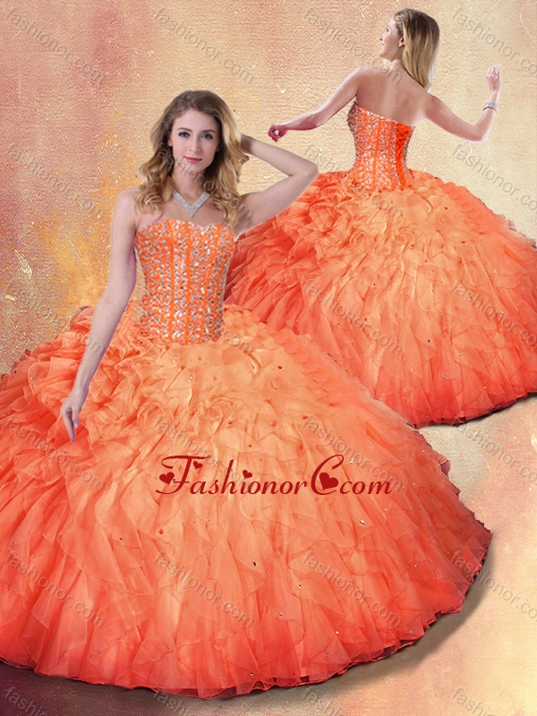 2016 Wonderful Ball Gown Beading and Ruffles Sweet 16 Dresses SJQDDT402002FOR