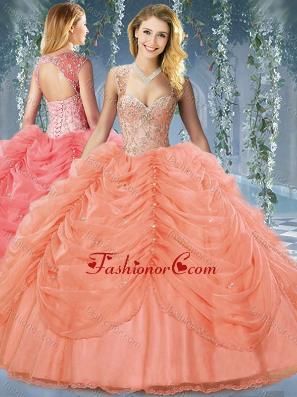 Classical Beaded and Bubble Big Puffy Organze Sweet 16 Dress in Organza RedSJQDDT598002FOR
