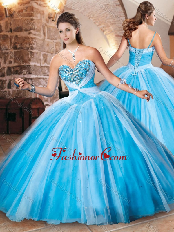 Exclusive Beaded Bust Baby Blue Sweet 16 Dress in Tulle XFQD1038FOR ...