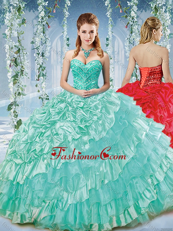 Modest Beaded and Ruffled Big Puffy Sweet 16 Dress in Organza and Taffeta SJQDDT582002FOR