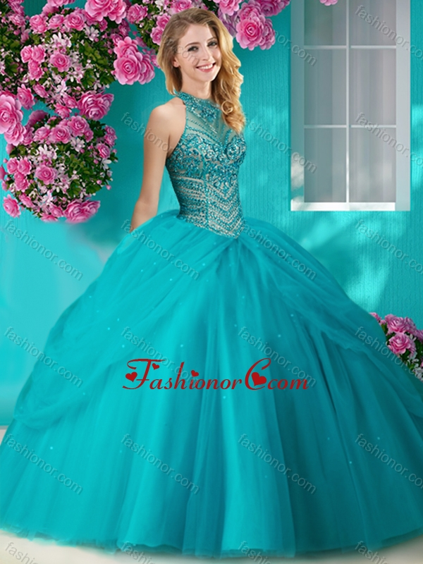Recommended halter top beaded and applique quinceanera dress in orange