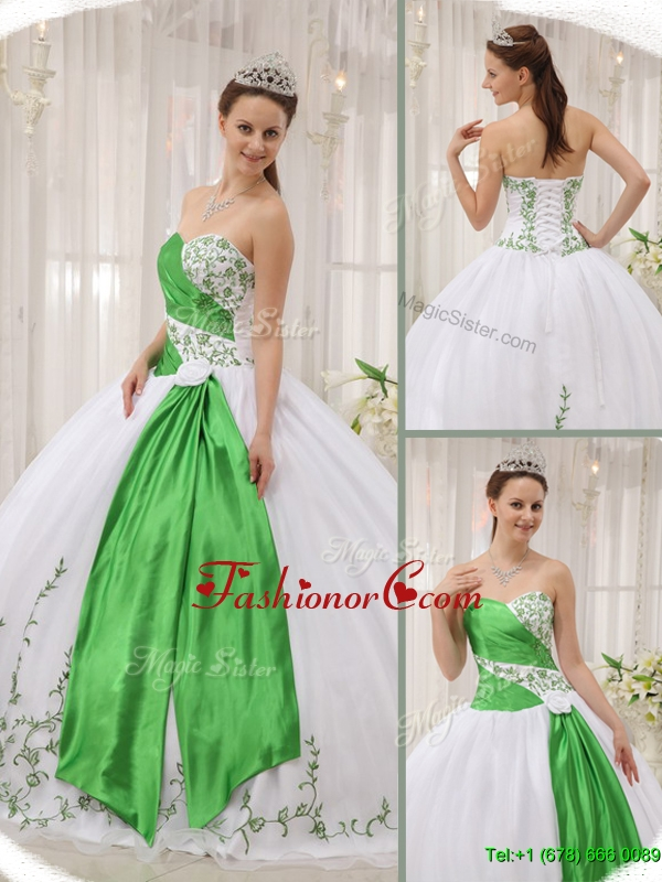 Latest Ball Gown Sweetheart Quinceanera Dresses with Embroidery  QDZY408BFOR