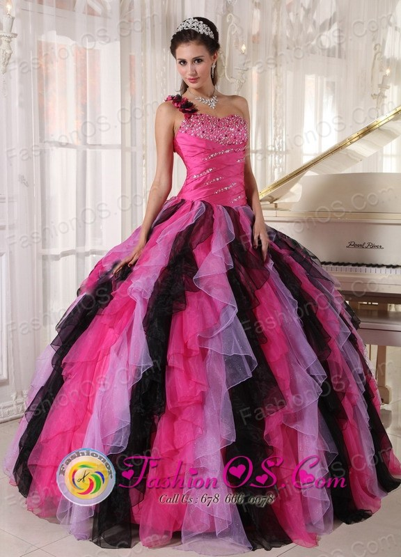Black and Hot Pink One Shoulder With puffy Ruffles For 2013 ...