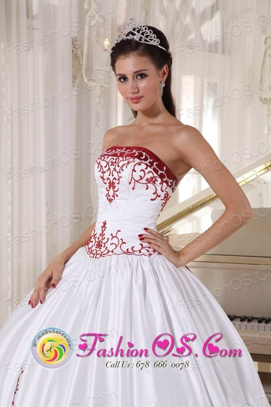White And Wine Red Quinceanera Dress With Embroidery Decorate ball ...