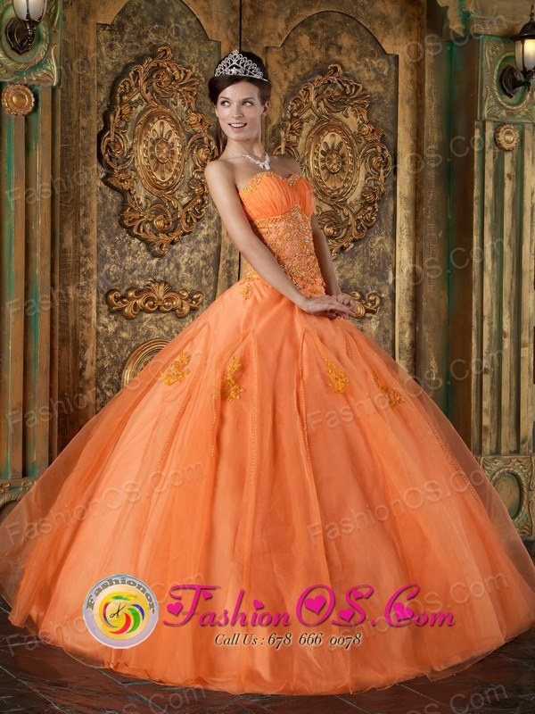 Quillabamba Peru  Sweetheart  Orange 2013 wholesale Quinceanera Dress Appliques Floor-length Organza Ball Gown Style QDZY188FOR