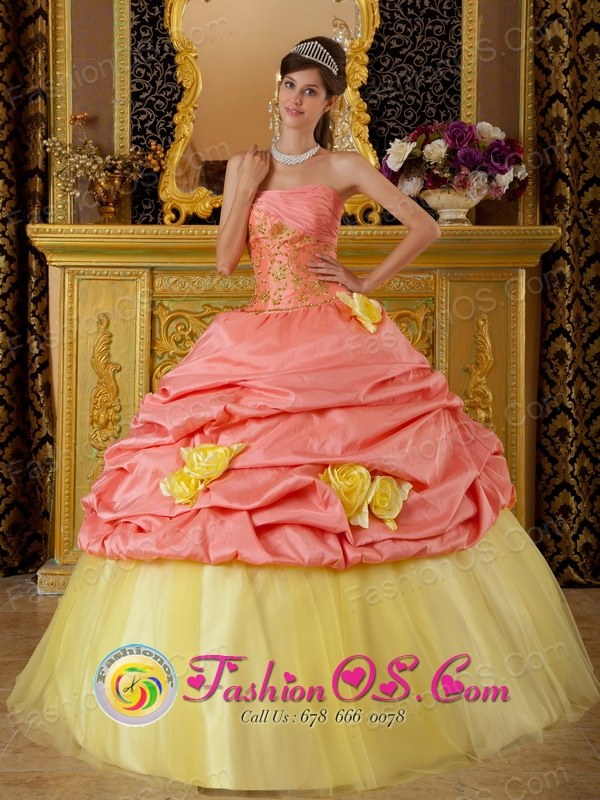 Colorful Hand Made Flowers and Pick-ups For Watermelon and Yellow Strapless Quinceanera Dress With Taffeta and Tulle Appliques for Military Ball In Barranquitas Puerto Rico Wholesale Style QDZY219FOR