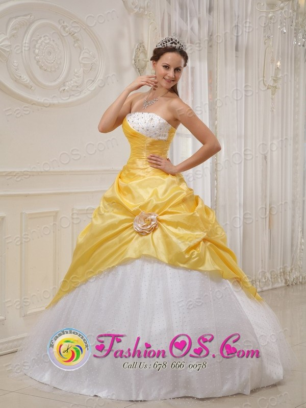 Exquisite Strapless Yellow and White Sweet 16 Quinceanera Dress ...