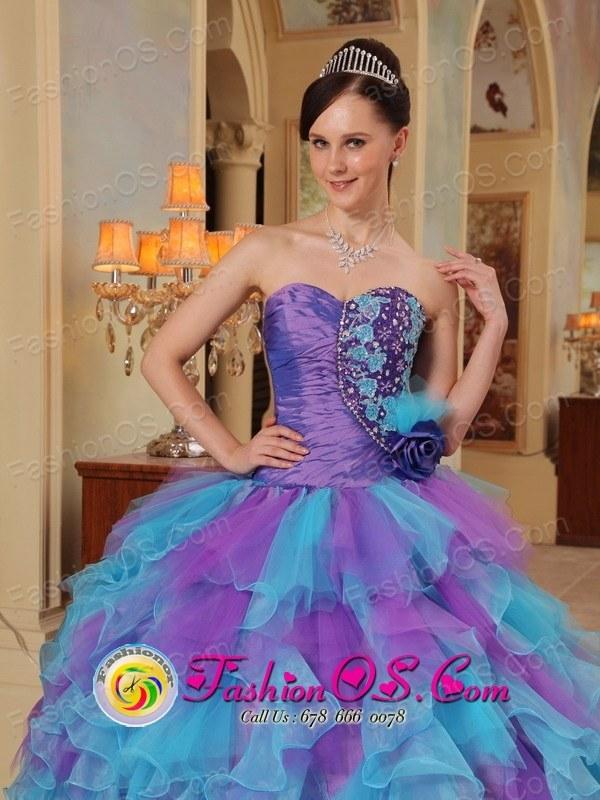 Organza The Most Popular Purple and Aqua Blue Quinceanera Dress ...