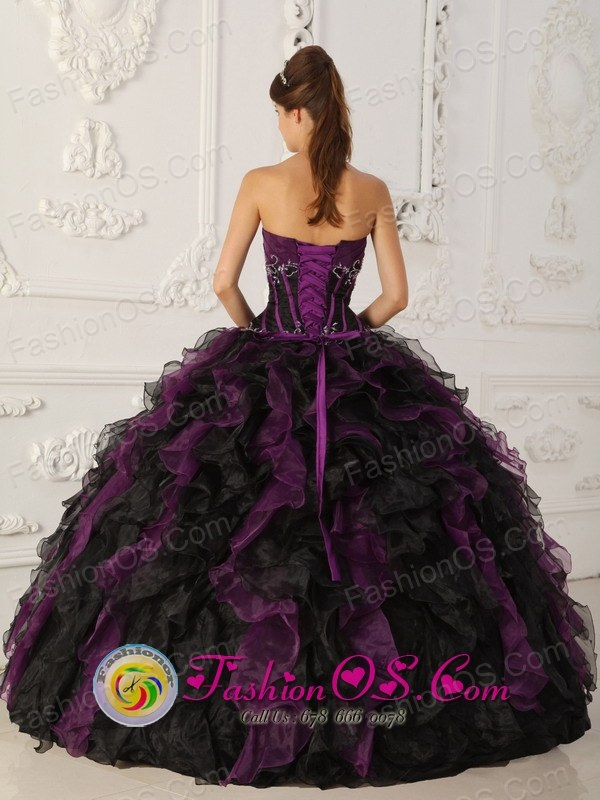 Purple and Black Brand New Quinceanera Dress With Beaded Decorate ...