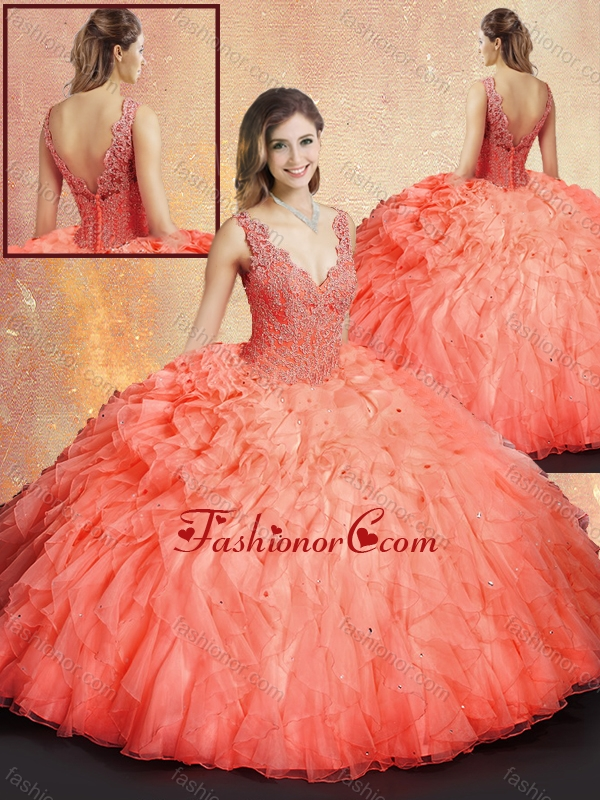 2016 Simple V Neck Sweet 16 Dresses with Ruffles and Appliques SJQDDT413002FOR