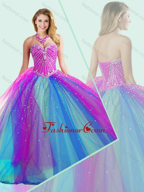 Big Puffy Beaded Quinceanera Dress in Multi Color SJQDDT504002FOR
