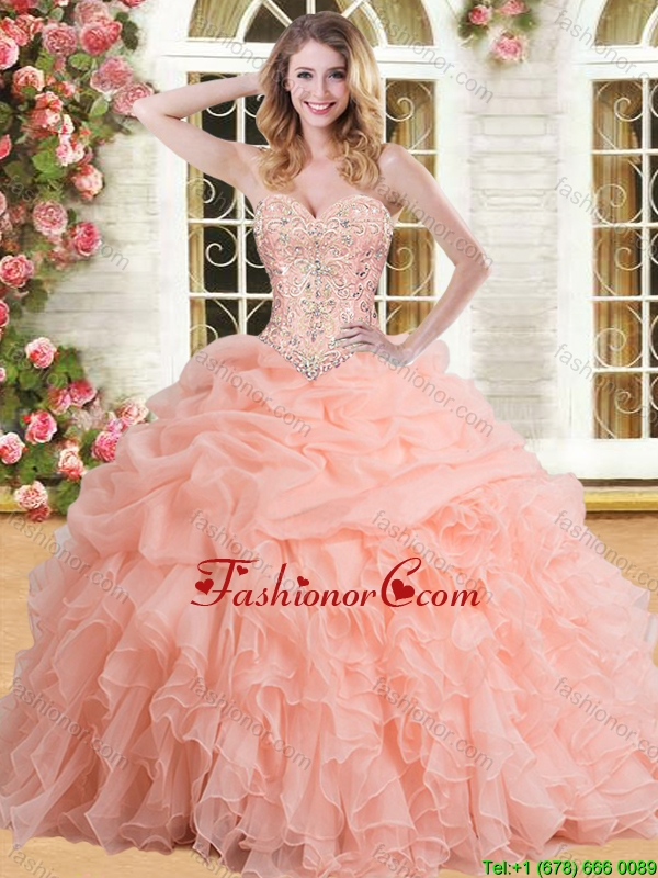 Cheap Organza Peach Quinceanera Dress with Appliques and Ruffles YSQD002-1FOR