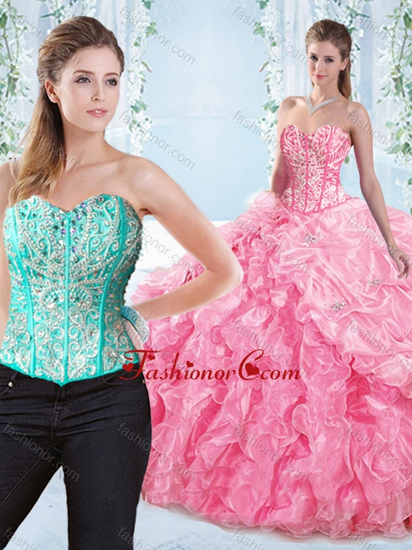 Discount Beaded Bodice Visible Boning Rose Pink Detachable Sweet 16 Dress SJQDDT547002AFOR