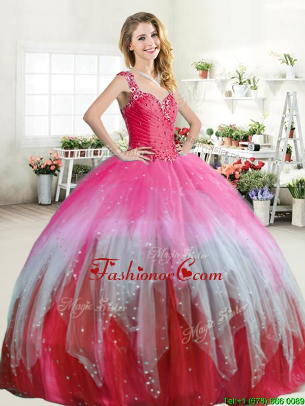 Hot Sale Colorful Straps Quinceanera Dress with Beading and Ruffled Layers YYPJ046-2FOR