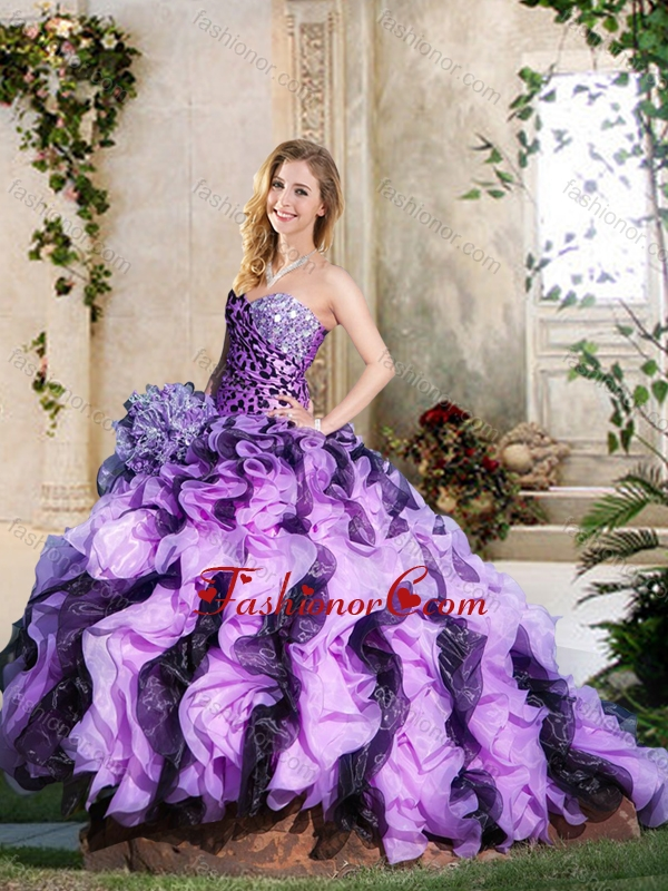 Leopard and Ruffled Lavender and Dark Purple Quinceanera Gown with Brush Train XFQD1057FOR