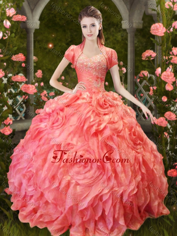 Luxurious Puffy Skirt Beaded and Ruffled Quinceanera Dress in Orange Red XFQD1004FOR