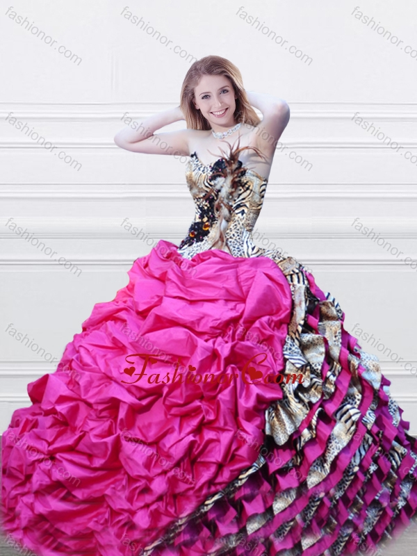 Luxurious V Neck Fuchsia and Printed Quinceanera Dress with Feather and Bubbles XFQD996FOR