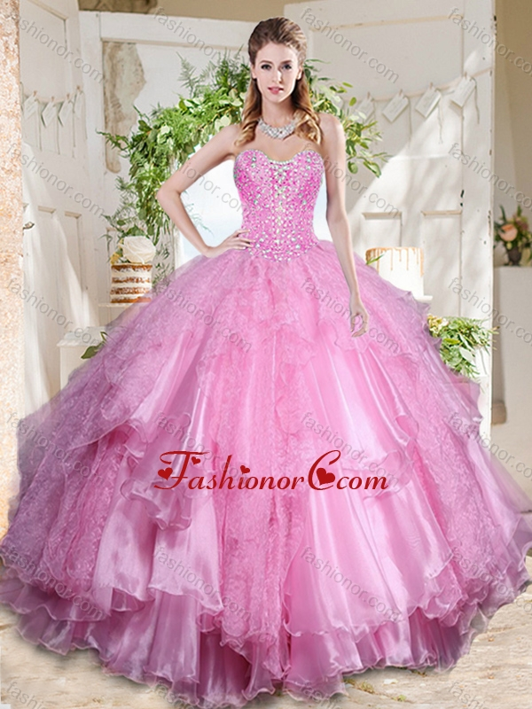 Popular Rose Pink Really Puffy Quinceanera Dress with Beading and Ruffles Layers SJQDDT707002FOR