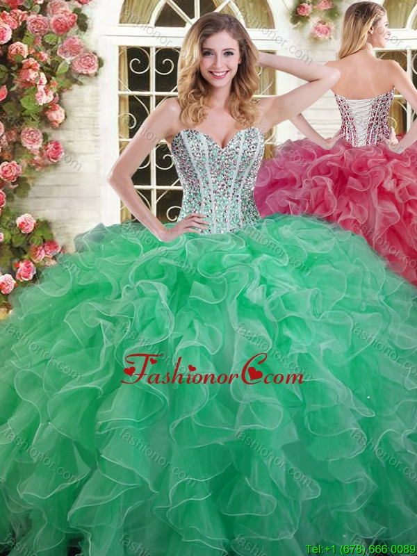 Visible Boning Beaded Bodice and Ruffled Quinceanera Dress in Green YSQD003FOR