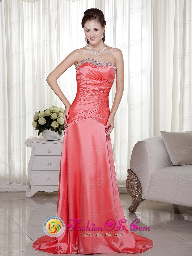 Sheath Strapless Beading Embellishment Brush Train Watermelon Prom ...