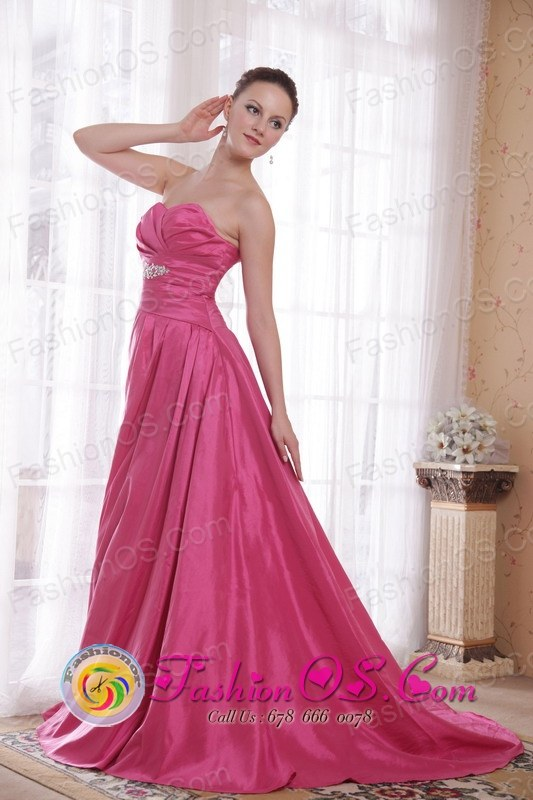 Hot Pink Beaded Prom Dresses